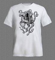 Wholesale Clothes Printing Equipment - T-Shirts 2017 Brand Clothes Slim Fit Printing Octopus in diver's helmet Ocean Scuba Diver Equipment funny T-shirt compression
