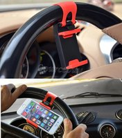 Wholesale Pda Clip - Mobile Phone Holder Mount Clip Buckle Socket Hands Free on Car Steering Wheel for iPhone Samsung Galaxy Smart phone PDA and GPS Stand