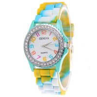 Wholesale Pin Trade - Foreign Trade Silicone Watches for Women Rainbow Color Ladies Diamond Wrist Watch Outdoor Sports Mens Brand Quartz Watches 2016