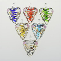 Wholesale Glass Heart Bulk - 2016 Clear Heart Love Glass Pendants Necklace Unique Murano Glass Jewelry Lampwork Glaze Pendant in Bulk Cheap 12pcs