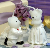 Wholesale Colored Wedding Favor Boxes - 10pairs Lovely Bears Lover Bear Candle Wedding Baby Shower Birthday Souvenirs Gifts Favor Packaged with PVC Box