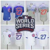blu ivory - Baseball Addison Russell World Series Patch Jersey Flexbase Chicago Cubs Jerseys Cheap Throwback Team Color White Pinstripe Grey Blu