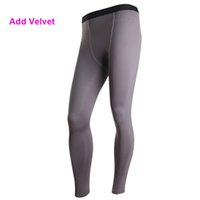 Wholesale Mens Compression Wear - Wholesale-YD29 Plus Size S-XXL Mens Add Velvet Thermal Sports Pant GYM Compression Wear Base Layer Full Pants Tight Skin Under New 2016