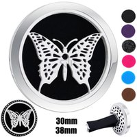 Round Silver Butterfly Design (38mm) Ímã Diffuser Carro aromaterapia Locket Free Pads Óleo essencial 316 Stainless Steel Car Diffuser Lockets