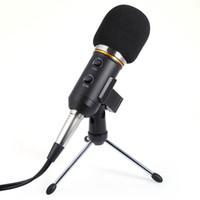 micro usb 3.5mm venda por atacado-Novo Microfone Condensador De Gravação De Som De Áudio Com Choque Mount Holder Clip Preto Disponível 3.5mm USB Dual Cable Micro