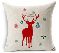 Wholesale room sofa set - 5Pcs  Lot Merry Christmas Santa Claus Snowman Elk Thicken Cotton Linen Pillow Sets Sofa Cushion Covers Home Decor Pillowcase Home Room