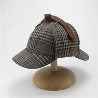 Berets Caps For Men Winter Woman Cosplay Cap Detective Sherlock Holmes  Deerstalker Hat Gray Caps 424c5250cf20