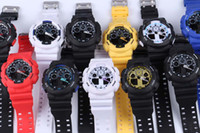 Wholesale Wholesale Rubber Belts - 5pcs lot relogio G100 men's sports watches, LED chronograph wristwatch, military watch, digital watch, good gift for men & boy, dropship