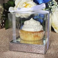 Wholesale Cupcake Box Clear - FREE SHIPPING 50PCS 9X9X9CM Square andTransparent PVC Cupcake Boxes Wedding Favors Holder PVC Cupcake Package Party Sweet Boxes