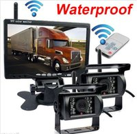 "Wholesale Truck Rear View Camera Wireless - 7"" Monitor+2 X Wireless Rear View Backup car Camera Night Vision For RV Truck Bus"