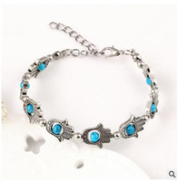 Wholesale Glass Beads For Eyes - Recommend Hot-selling style colored glass eyes Hamsa palm bracelet bracelets for women Bangles & braceletsFashion explosionFashion trend