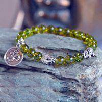 Wholesale Peridot Heart - Olivine,Peridot Bracelet,Lotus Buddha Bracelet,Heart Chakra healing, Lucky Elephant Bracelet,OM bracelet, meditation yoga mala beads prayer