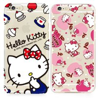 iphone kitty toptan satış-Apple iphone 7 için artı 6 6 S artı SE silikon kılıf 40th yıldönümü Hello kitty ultra ince Kaplama TPU boya cep telefonu kılıfları
