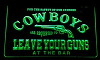 Wholesale Motion Gun - LS171-g Cowboys Leave Guns Bar Beer Neon Light Sign
