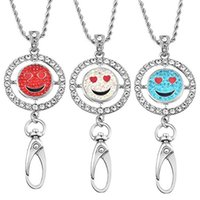 Wholesale Indian Names - Round Inlaid Rhinestone Name Tag Holder Emoji Interchangeable Snap Button Charm ID Badge Holder Necklace Lanyard N175S