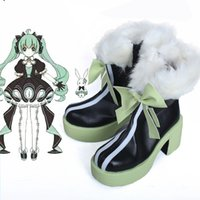 Wholesale High Quality Rabbit Costume - High Quality COS VOCALOID Hatsune Miku Cute Rabbit Cosplay Costume Accessories Shoes Halloween Any Size Free Shipping