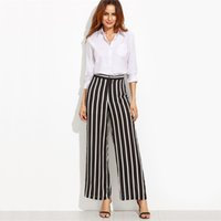 Wholesale Elegant High Waist Trousers - Loose Trousers Women Trousers Elegant Brand Womens Trousers Black Vertical Striped High Waist Wide Leg Pants