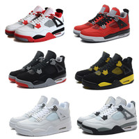 Wholesale High Leather Boots Men - High Quality Air Retro 4 Man Basketball Shoes Authentic Retro IV Boots White Cement Fire Red Bred Bulls Mens Sport Shoes Free Shipping