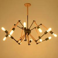 Wholesale Industrial Pendent Light - Modern Adjustable Wooden Pendent Lighting Fixture 85-265V AC Loft Iron Ceiling Lamp E27 Edison Metal industrial Style Spider Light