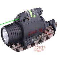 Wholesale Tactical Gun Light Green Laser - 2in1 Combo Tactical CREE Q5 LED Flashlight LIGHT 200LM +Green Laser Sight For pistol gun Handgun for Glock 17 19 22 20 23 31 37