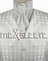 Wholesale Mens Vests Ascot Tie - New arrival free shipping Mens Suit white Tuxedo Dress Vest (vest+ascot tie+cufflinks+handkerchief)