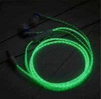 Wholesale Neon Headphones - HOT!!! Glow In The Dark Headphones Luminous Neon Headset Flash Light Earphone Glowing Earbuds With Microphone Night Lighting