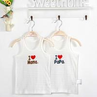 Wholesale Tank Tops Wholesales - 2 pcs Cotton Baby Tank Tops Stripe Sleeveless Kids Underwear Camisole Cartoon Letter Printed Vest I Love Papa Mama Vest