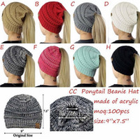 Wholesale Crochet Best - 2017 New Desgin CC Crochet Beanie Women Fashion Knitted Hats Winter Warm Outdoor Horsetail Caps Skulll Cap Top Quality Best Gift A118