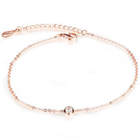 Wholesale Stainless Steel Pave Balls Wholesale - Terse Plated Rose Gold Anklet Charm Chain Link Stainless Steel Ankle Bracelets Crystal Paved Ankle Bracelet Foot Jewelry For Woman Barefoot