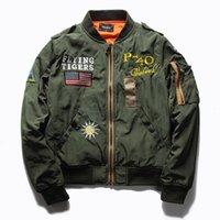işlemeli askeri ceketler toptan satış-Ma1 Bombacı Ceket Erkekler için Kalın Uçan Kaplanlar Işlemeli Rozeti Ceket Pilot Uçuş Ceket Homme Beyzbol Askeri Mont KU879543