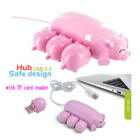 Wholesale Usb Port Expansion - Wholesale Cute Pink Pig Hub 3 USB ports with 1 TF Card Reader USB pig 3 HUB with one pig Micro SD Card Reader for Computer USB HUB expansion