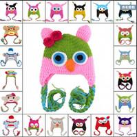 coruja, dos, miúdos venda por atacado-150 pcs Criança Da Coruja Orelha Flap Crochet Hat Crianças Feitas À Mão Crochet OWL Beanie Chapéu Handmade OWL Beanie Crianças Mão Chapéu De Malha
