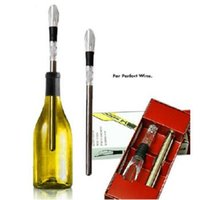 Wholesale Wine Glass Packaging - Stainlesss Steel Lead Ice Bar Cooler Wine Cooling Stick Ice Bar For Home Party Wine Decanter Tool With Retail Package CCA7150 60pcs