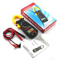 Wholesale Pocket Multimeter - 5pcs free shipping AC DC Mini Pocket Handheld LCD Digital Clamp Meter Voltage Current Resistance Tester with Test Leads Multimeter Ammeter