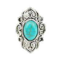 Discount wholesale brand ring - 2016 Turquoise Ring For Women Antique Silver Oval Turquoise Fashion Brand Carving Vintage Jewelry Wholesale 12 Pcs