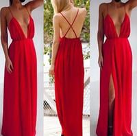 Wholesale women causal lace dress - 2016 sale sexy women causal chiffon Sexy Long Dress 3 Color C50