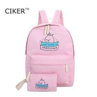 Wholesale New Cute Girls Fashion Set - Wholesale-CIKER women canvas backpack fashion cute travel bags printing backpacks 2pcs set new style laptop backpack for teenage girls