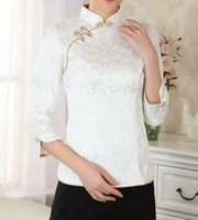 Wholesale Womens Chinese Blouses - Summer Traditional Chinese fashion 2014 womens tops Blouse Shirt Short Sleeves Size S M L XL XXL A0051