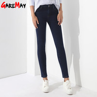 Wholesale Winter Jeans Woman - Winter Pants Jeans Female Velvet Warm Pencil Jeans Elastic Denim Thicken Pants For Women Pantalon Taille Haute Femme GAREMAY