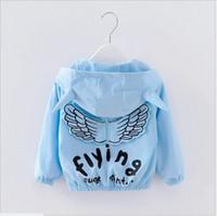 Wholesale Outwear Wind Jacket Baby - Retail 2017 Spring Autumn Baby Boys Girls Angel Wings Coats Outwear Kids Zipper Hooded Jackets Fashion Children Wind Coat 90cm-100cm-110cm