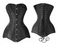 alta qualidade mais tamanho corset venda por atacado-Elegante Sexy Plus Size Preto Jacquard aço desossado Overbust alta qualidade longa linha Corset Bustier Top