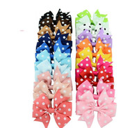 Wholesale 8cm color polka dots Hair Bows Cute Baby Ribbon Bows Boutique Hair Bow with Hair clips Kids Accessories A8913