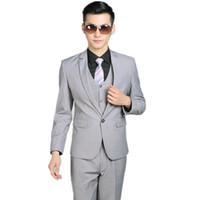 Wholesale Thin Lapel Piece Suits - (jacket + pants + vest) three-piece men groom suit elegant fashion show thin man suit a grain of buckle ball gown pure color
