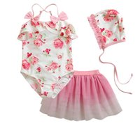 Wholesale Wholesale Two Piece Skirt Suits - Wholesale -kids Swimwear girls's girl children baby skirts tulle floral bow Suits with hat 3 pcs