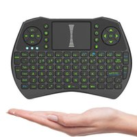 Wholesale Fly Notebook - I9 Mini Fly Air Mouse with green backlight 2.4G Wireless Keyboard Remote Controlers touchpad for PC Notebook Android TV Box