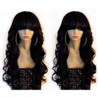 Wholesale Brazilain Wigs - Natural wave Lace Front Human Hair Wigs   Full Lace Wig with Bangs 8A Unprocessed Brazilain Virgin Hair Wigs Black Women With Baby Hair