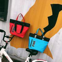 Wholesale Love Pink Large - love Pink Handbags Shoulder Bags Women Love Handbags Large Capacity Travel Duffle Striped Waterproof Beach Shoulder Bag 4 Colors