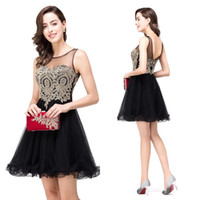 Wholesale Homecoming Dress New - 2016 New Fashion Short Black Lace Embroidery Homecoming Dresses Sheer Neck Mini Tulle Graduation Party Dress under 50