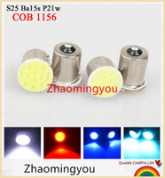 Wholesale universal truck tail lights for sale - Group buy 20x Super White cob p21w led SMD ba15s v bulb RV Trailer Truck car styling Light parking Auto led Car lamp
