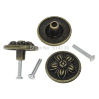 Wholesale Antique Metal Drawer Knobs - Free Shipping 5 Jewelry Box Case Drawer Pull Knob Handles Round Antique Bronze Flower Pattern Carved W Screw 3.2x1.8cm B01445